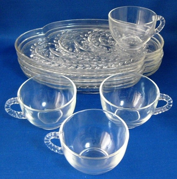 Snack sets homestead vintage glass plates and cups