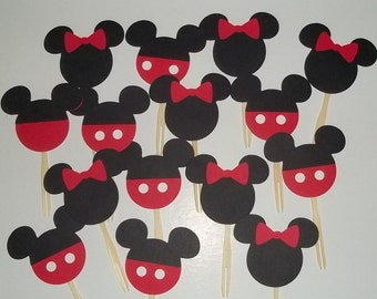 24 Mickey And Minnie Cupcake Toppers. Mickey Mouse Birthday, Minnie Mouse  Birthday, Disney