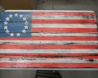 Primitive Flag, Americana Flag, barnwood style flag,  distressed flag, wall art, rustic flag, americana decor, colonial flag