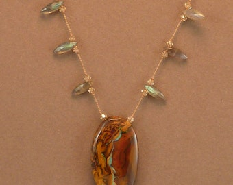 Australian boulder opal pendant necklace with faceted labradorite hand knotted on silk