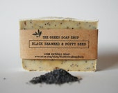 Black seaweed & poppy seed handmade -all natural soap with rosemary essential oil