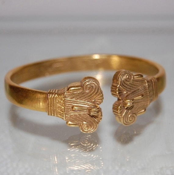 Egyptian Revival Art Deco Lotus Leaf Cuff Bracelet Vintage Jewelry Accessories Pyxis Cuff Cleveland Museum of Art Gift for Her