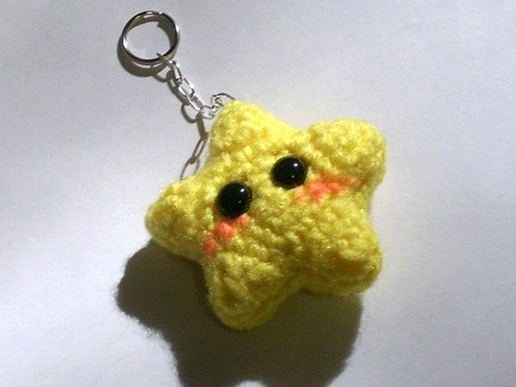 Crochet Keychain : Kawaii Crochet Star Keychain by blackmoonflower on Etsy