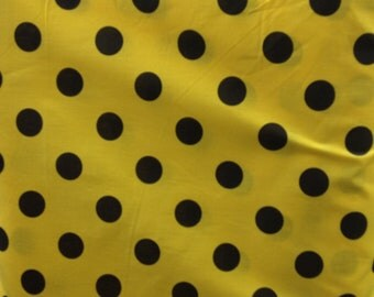 """Poly Cotton Large Black Polka Dot Print on Yellow Background Fabric 60"""" Fabric by the Yard - 1 Yard"""