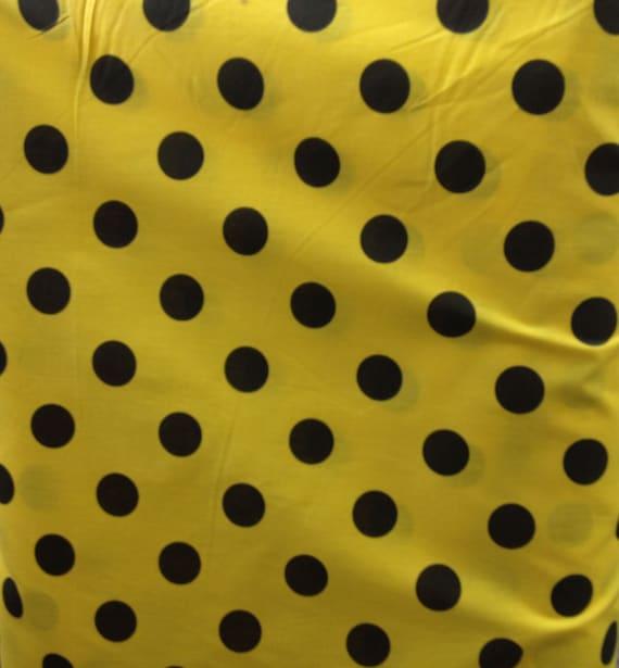 Yellow And Black Polka Dot Background Poly Cotton Lar...