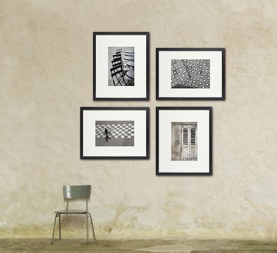 Paris Photo Set, Urban Street Art, Black and White French Art, Paris Decor, Large Wall Art, Geometric Patterns, Set of Four Prints