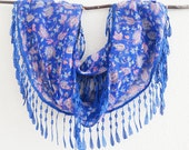 Sapphire Blue Scarf, Lace Scarf, Blue Scarf, Floral Scarf, Print Scarf, Under 15