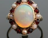 Antique Opal, Garnet and Pearl Ring