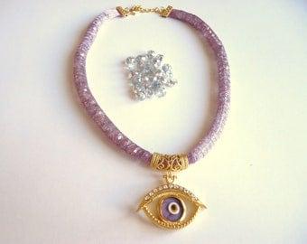 Handmade, evil eye, lilac,  women necklace