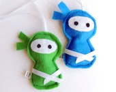 Scented Felt Ninjas- 2 Eco-Felt Softies. Blue and Green. Hanging / Keychain / zipper pull / ornament