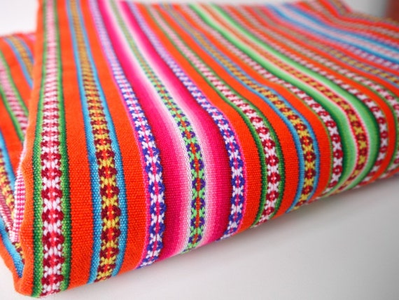 Tribal Fabric, South American Woven Fabric, Textile, Orange Colorful Stripes, 50 x 100 inches