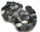 Corriedale Roving / Top, Hand Dyed Blue and Grey 3.5oz/100gm
