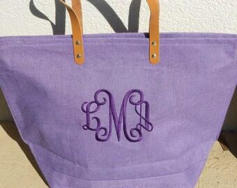 Monogrammed Jute Bag Font Shown Interlocking