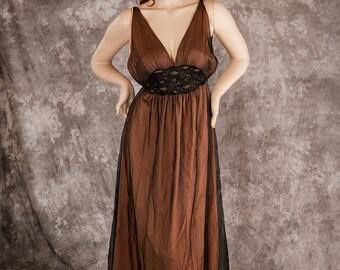Vintage Intime' NightGown Black Chiffon over Peach Nylon Glamourous Size S/M
