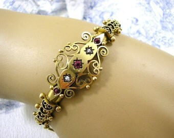 Victorian Gold Bracelet Etruscan Bangle Diamonds Ruby Garnet 9ct