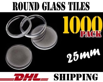 1000 pcs Round 25mm Clear Glass Tiles