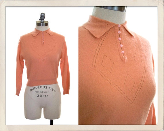 vintage 60s pink sweater // 1960s coral sweater girl pullover