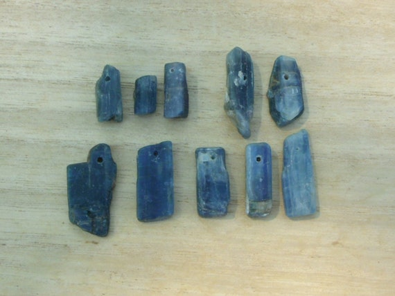 Blue Kyanite Shards - top drilled lot of 10 beads