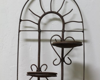 Cast iron wall planter or candle holder