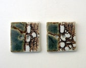 Sea green and iron porcelain,square buttons. XL.Ceramic Buttons.Sewing Buttons.