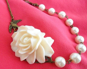 Bridal Necklace, Ivory Rose Necklace, Cream Flower Necklace, with Faux Pearls and  vintage style Bronze Swallows