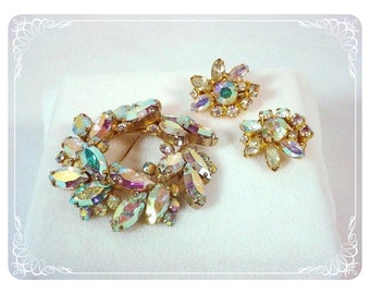 Vintage Rhinestone Set -  Aurora Borealis Brooch and Earring Demi  1535ag-122810000