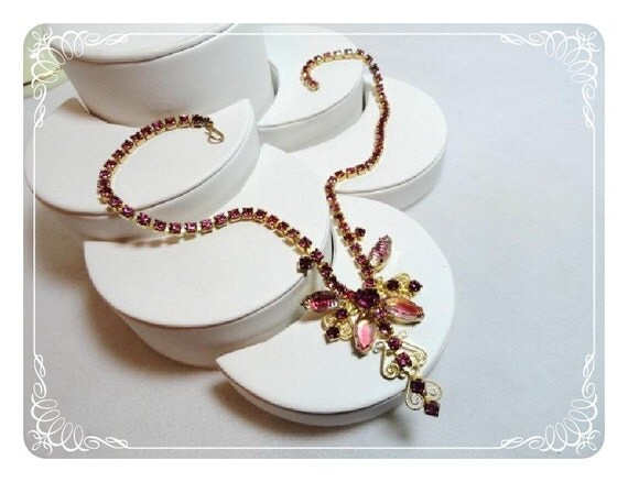 Reserved for MsBobbye  5/1  Pink Rhinestone Butterfly Vintage Necklace - Fabulous 1515a-052412000