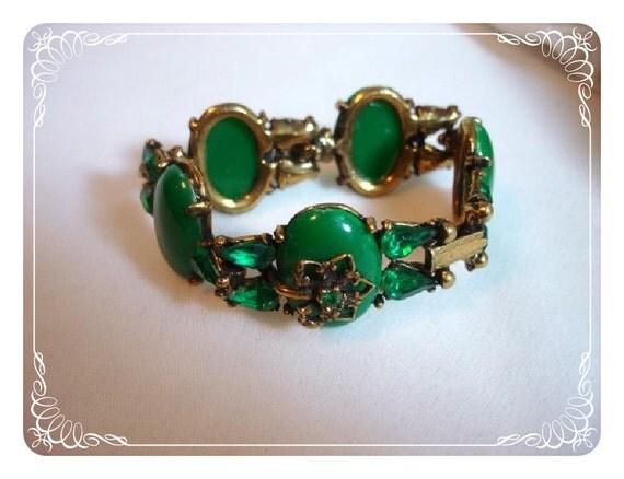 Spring Green Bracelet  -  Links w Rhinestones & Cabs- Vintage 1119ag-012312000
