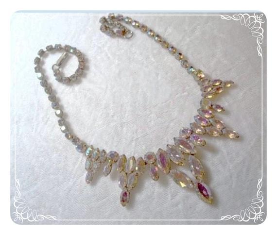 Stunning Rhinestone Necklace Aurora Borealis   1162ag-012312000