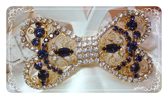 Juliana Rhinestone Belt Buckle Stunning Large Blue D&E  140a-032210040