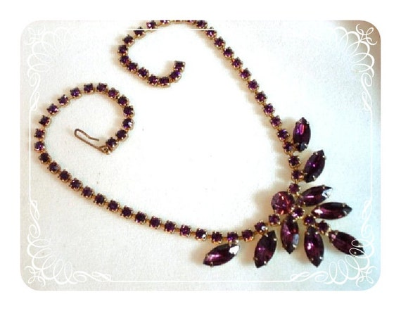 Amethyst Rhinestone Necklace - Formal Prom Queen or Bridesmaid Perfect   1168ag-012312000