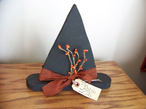 The Witch Is In Primitive Rustic Wooden Witch Hat Decoration With Pip Berries