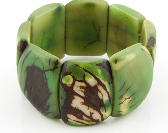 Patterned Tagua Nut Bracelet / Tagua Jewelry / Tagua Bracelet / Greenery Bracelet / Statement Bracelet / Seed Jewelry / Fair Trade Bracelet