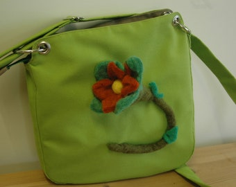 Moss green with felted tulip bag