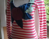 Striped Appliqued Flower Neckline Long-sleeved Tee. Size Medium. Nautical Red and White Stripes. Free Shipping in the US.