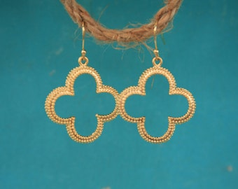 Matte Gold Clover Earrings great for Bridesmaids