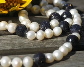 Pearl necklace long elegant round freshwater pearls white blue goldstone aventurine glass