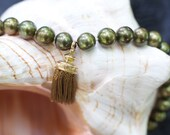 Pearl Necklace Vintage real pearls olivgreen tassel Parisien gold antique jewelry 19th century pearls 7mm