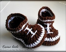 Football Crochet Baby Boy Booties, Baby Boy Boots