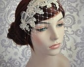 Champagne Birdcage Veil with Merry Widow Netting and Champagne Lace.  Champagne Lace Bridal Headband, Ivory, White, Champagne, Black - 123BC
