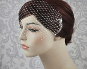 Pearl  Bandeau Veil, Pearl Birdcage Veil, Blusher Veil with Tiny Pearls on French Netting, Vintage Style Birdcage Veil, Rhinestone - 122BC