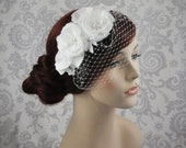 Birdcage Veil Handmade Silk Flowers and Lace, Bird Cage Veil Bridal Headpiece, Detachable Veil, Bridal Hair Flowers, White, Ivory - 112BC