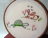 The Tortoise and the Hare - PDF Embroidery Pattern - Aesop's Fables - Includes Color and Stitch Guide