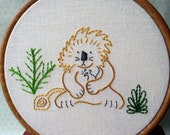 The Lion and the Mouse - PDF Embroidery Pattern - Aesop's Fables - Includes Color and Stitch Guide
