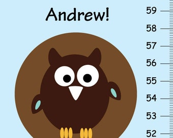Look Who's Growing - Personalized owls Growth Chart
