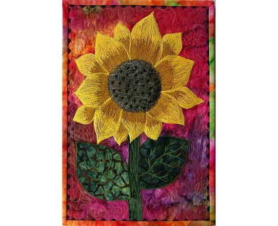 Quilt, Sunflower Fiber Art Wall Hanging, Thread Art