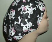 Girlie Pirate Skulls Pink Black European OR Surgical Scrub Hat