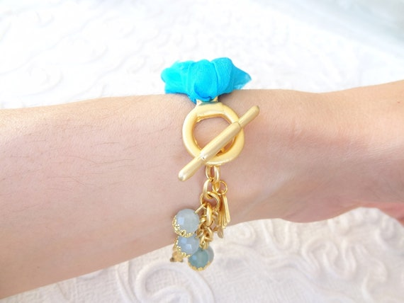 Turquoise  Turkish Silk Bracelet-Gold Plated Pisces Bracelet