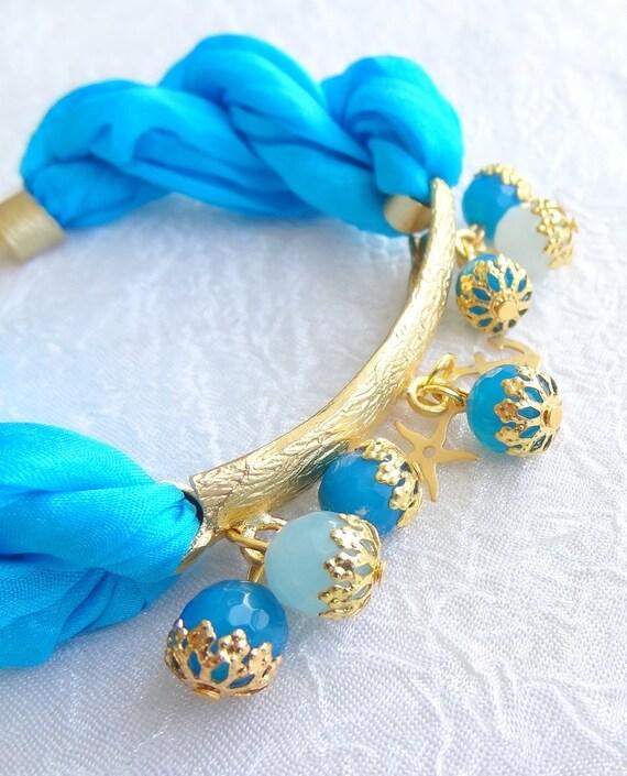 Turquoise Turkish Silk Bracelet-Gold Plated Bracelet-Turquoise Gem Stone Bracelet-Elegant Bracelet