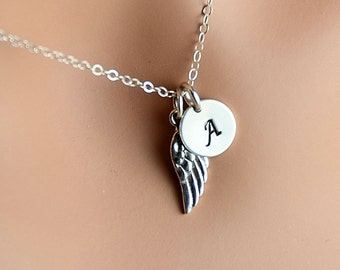 Dainty Wing Necklace, Sterling Silver, Angel Wing, Initial Necklace, Love Friendship Family Personalized  Initial Jewelry